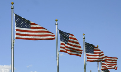 US flags waving in the air